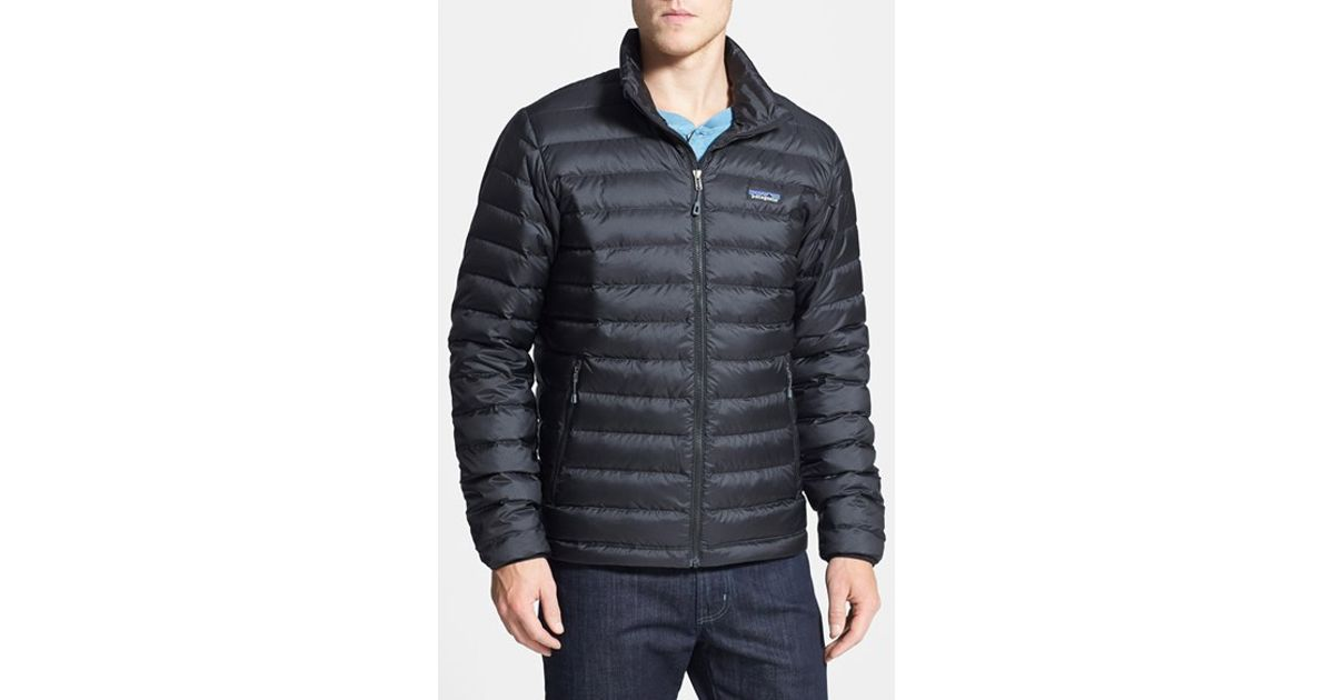 Patagonia water repellent down jacket in black for men lyst for Patagonia men s recycled down shirt jacket