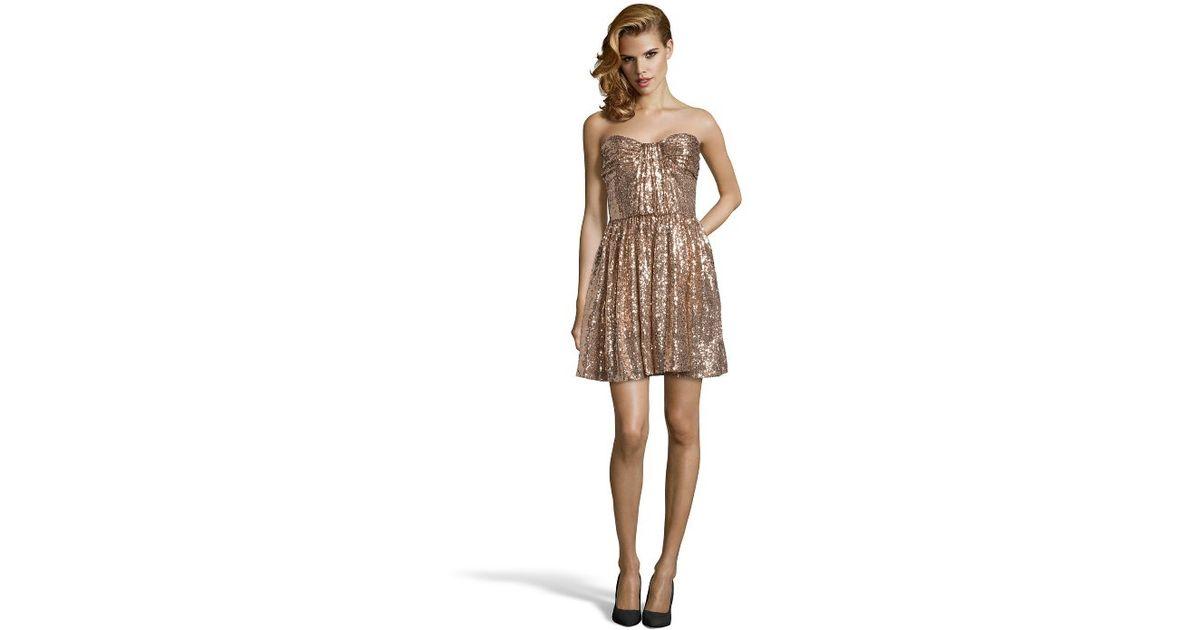 Lyst Jill Stuart Rose Gold Woven Sequined Strapless A Line Dress In Metallic