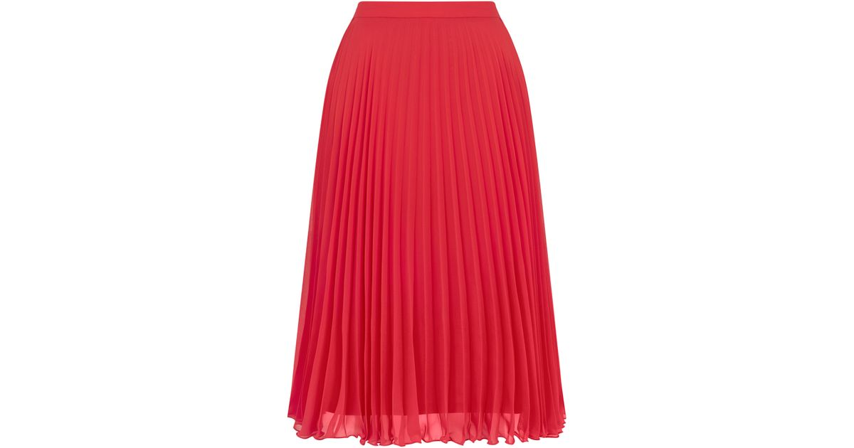 2a5e404e7fc Oasis Pleated Midi Skirt in Red - Lyst