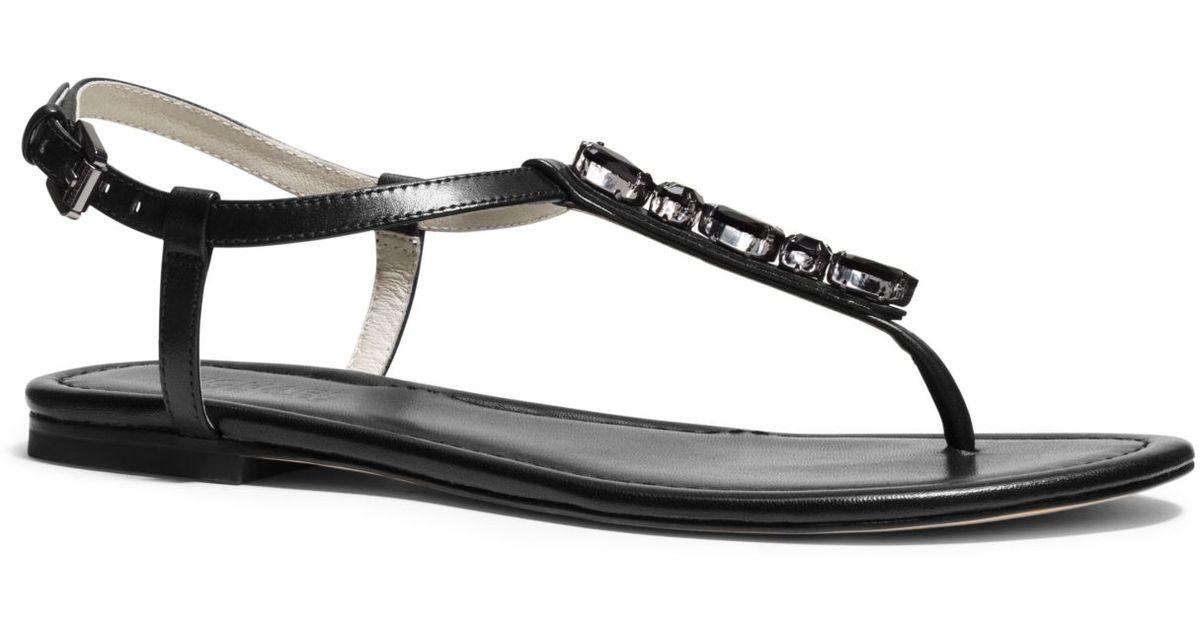 9319a9e3a Lyst - Michael Kors Jayden Embellished Leather Sandal in Black