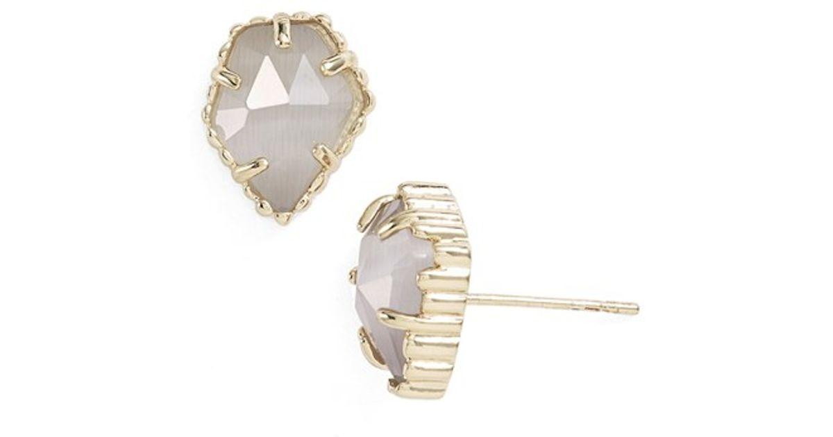 84b1f9cfd Lyst Kendra Scott Tessa Stone Stud Earrings Rhodium Slate