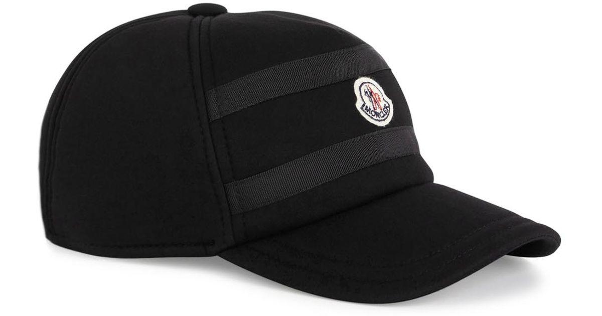 a44d40ecbaa Moncler Black Logo Neoprene Cap in Black for Men - Lyst