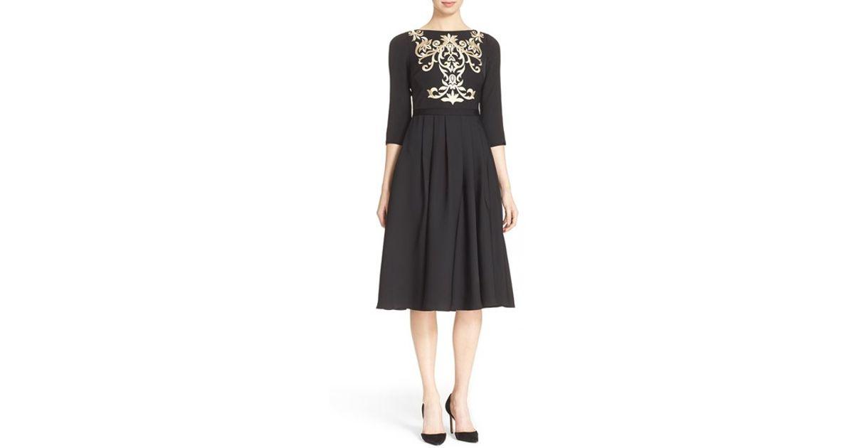 aaed8dc21f64 Lyst - Ted Baker Shamari Embroidered Midi Dress in Black