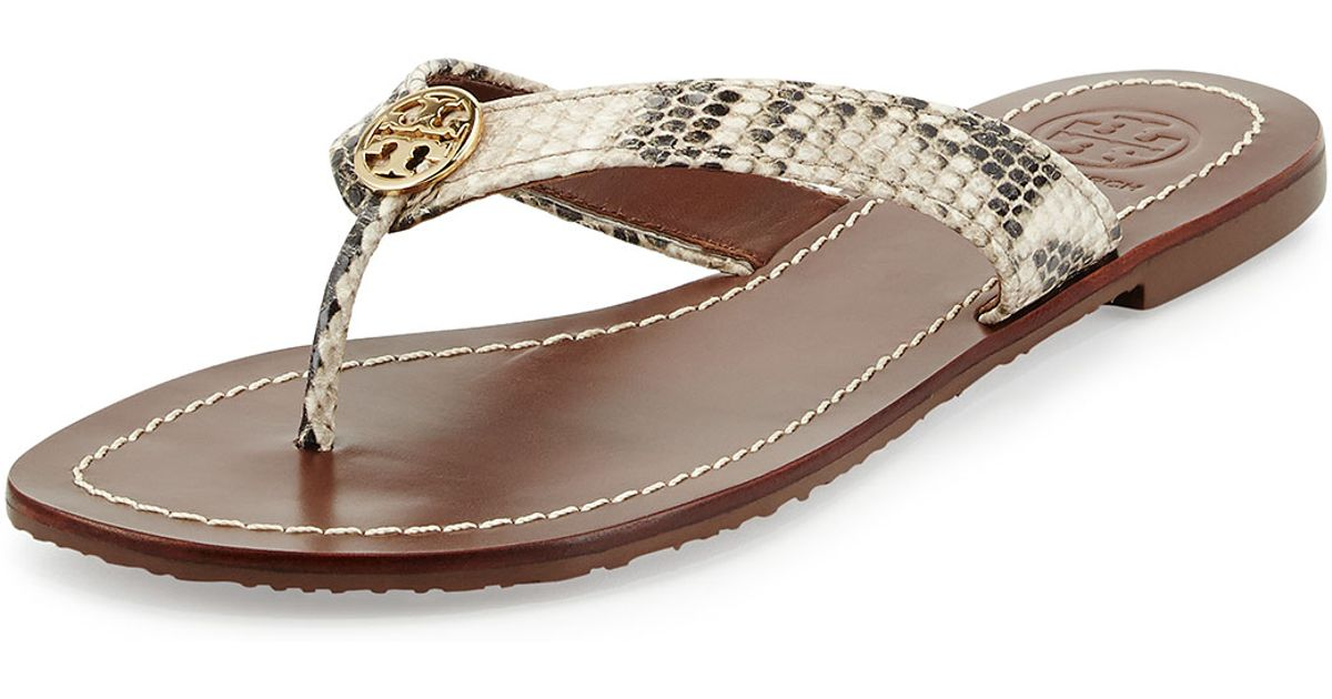f1479be47d9 Lyst - Tory Burch Thora Snake-print Logo Thong Sandal in Metallic