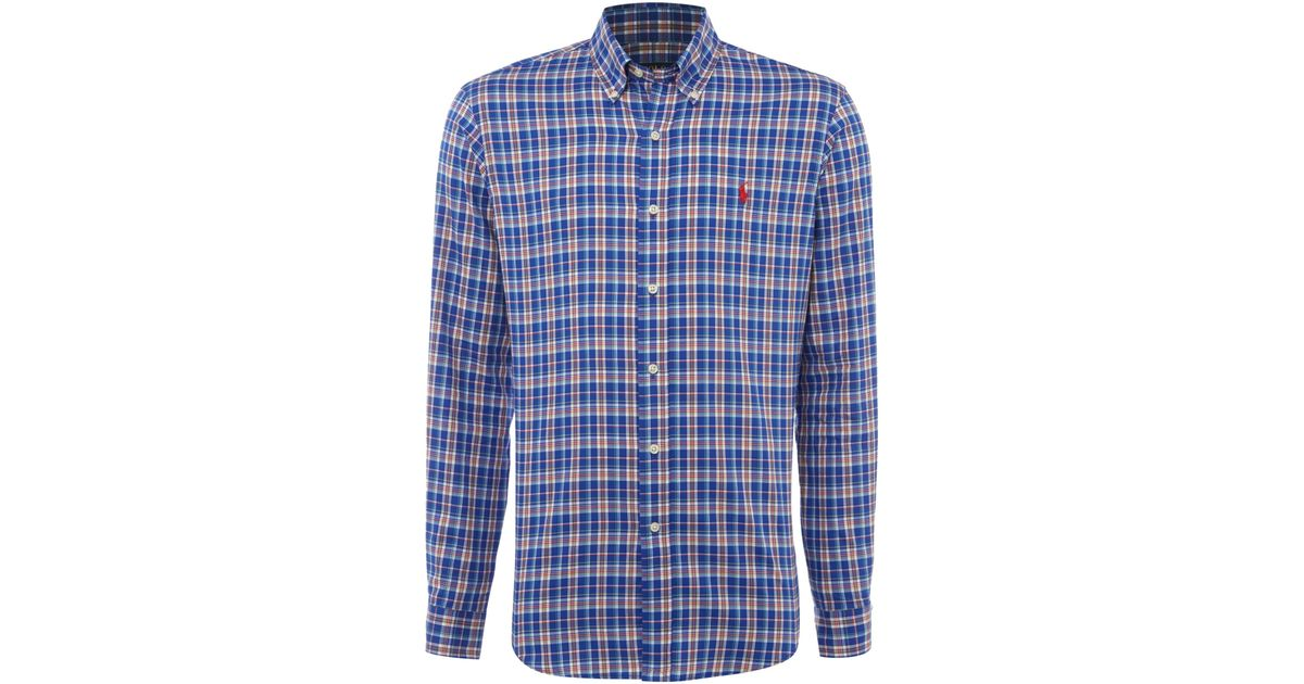 Polo ralph lauren shirt in blue for men save 48 lyst for Big and tall custom polo shirts