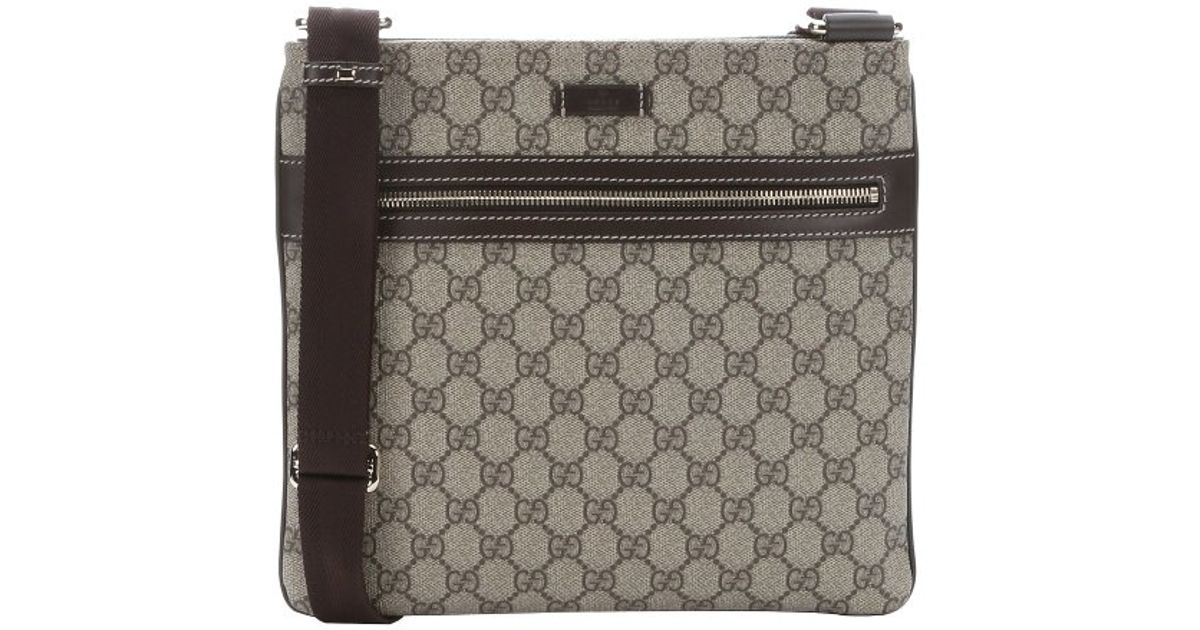 2e64bd62a291c Gucci Beige And Ebony Gg Supreme Canvas Flat Messenger Bag in Natural for  Men - Lyst