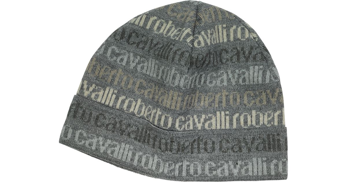 90012f05e6b3 Lyst - Roberto Cavalli Signature Print Wool Blend Men S Hat in Gray for Men