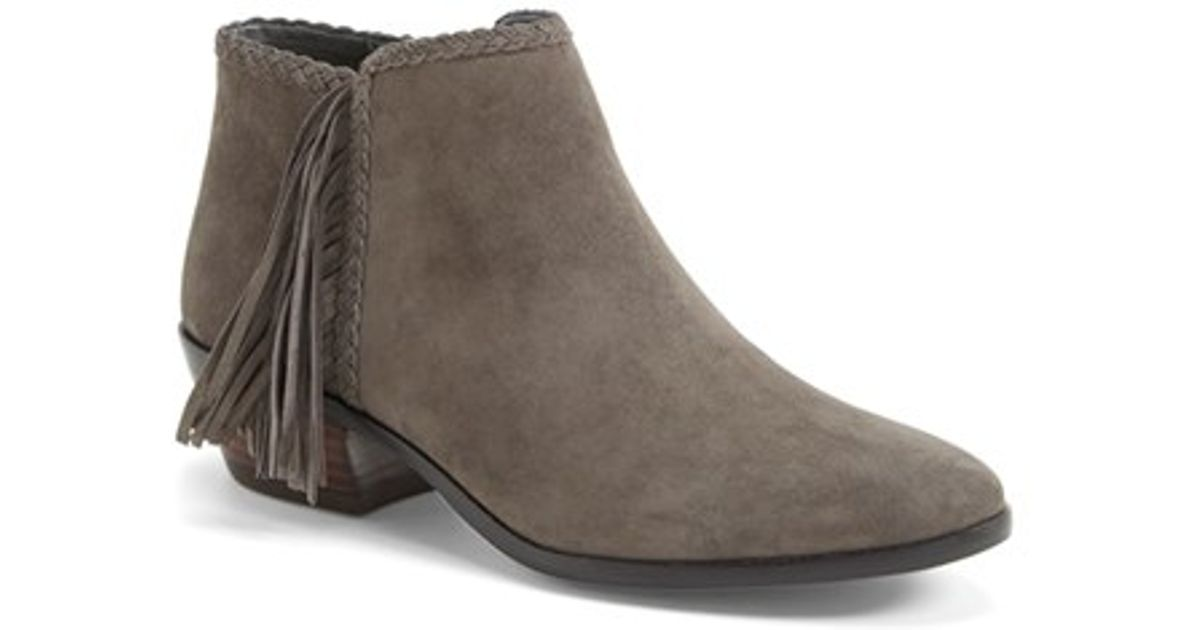 66b3f6e6d1461 Lyst - Sam Edelman  Paige  Fringed Ankle Bootie in Gray