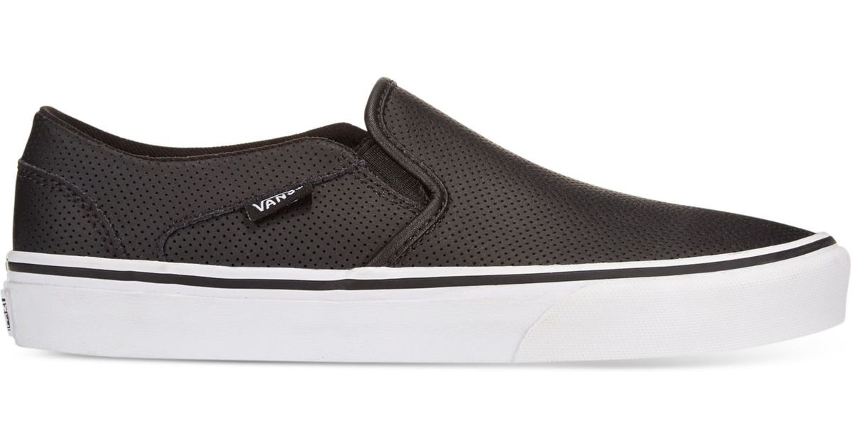 30d5f75176f056 Lyst - Vans Women s Asher Classic Slip-on Sneakers in Black