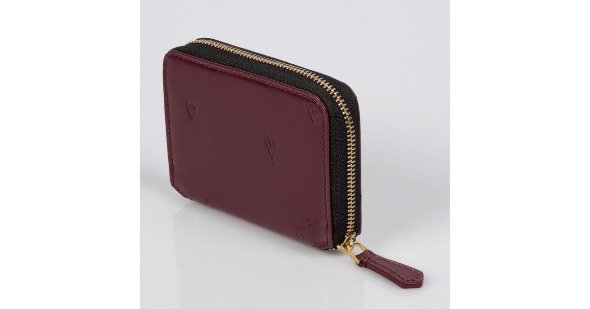 b8da998d0ac2 Lyst - Paul Smith Heart-Embossed Damson Mini Zip-Around Purse in Purple