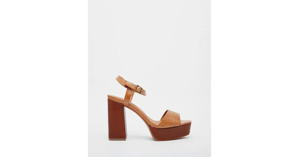 nice shoes outlet store sale official photos Truffle Collection - Brown Regan Platform Heeled Sandals - Lyst