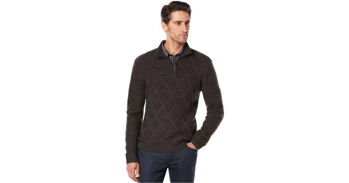 d8af28630c Lyst - Perry Ellis Quarter-zip Diamond-pattern Sweater in Gray for Men