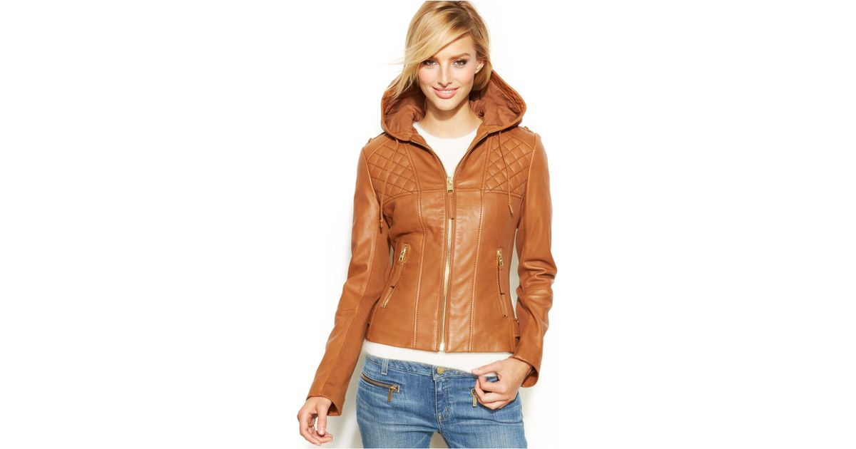 a5bd6344470 Michael Kors Michael Petite Knit-Inset Hooded Leather Jacket in Brown - Lyst