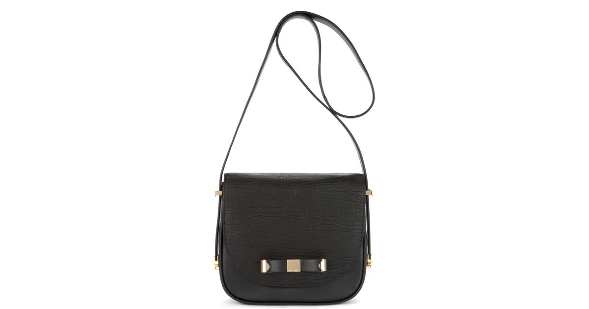 3ff84e7cd9e7 Lyst - Ted Baker Leather Cross Body Bag in Black