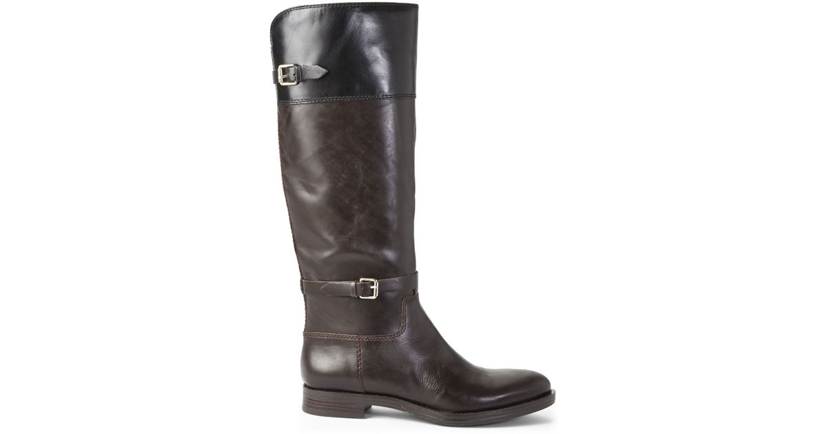 Lyst - Enzo Angiolini Brown   Black Eaeero Riding Boots in Brown d037e29aa