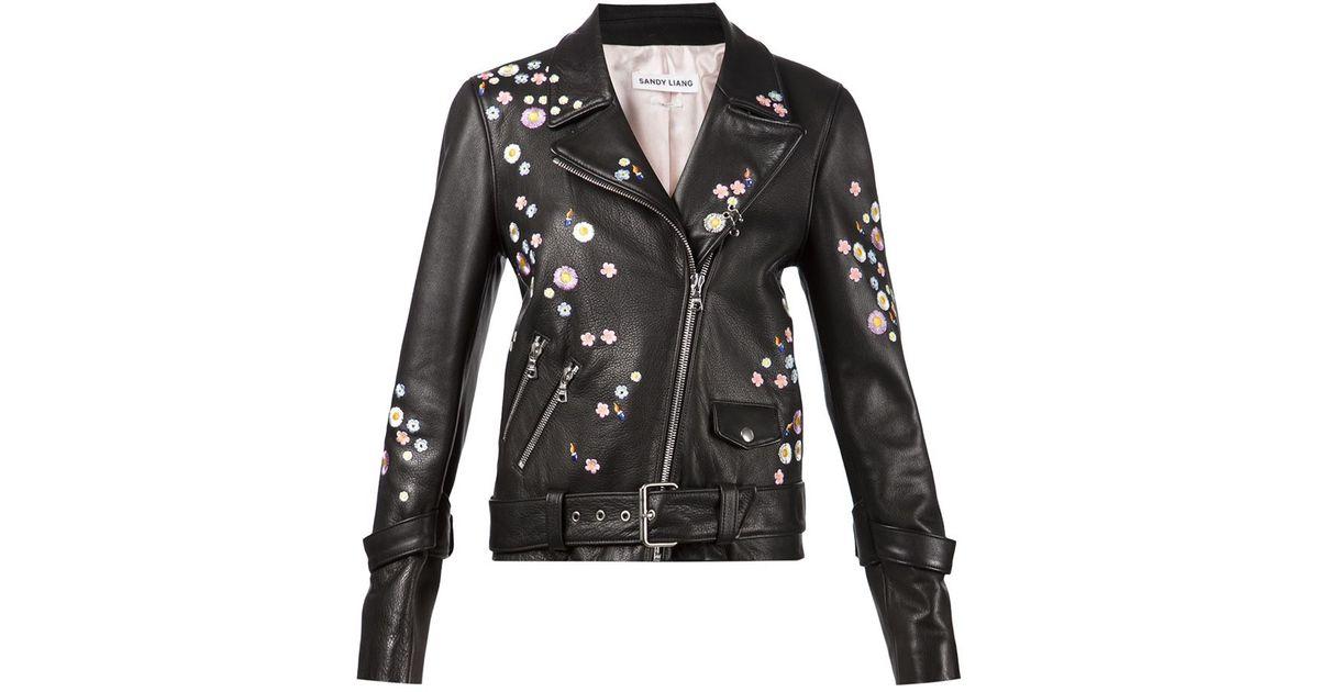 Lyst Sandy Liang Flower Embroidered Biker Jacket In Black