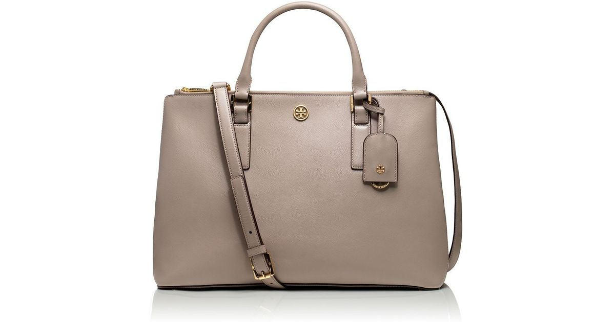 d1f4a74f18f Lyst - Tory Burch Robinson Double-Zip Tote in Gray
