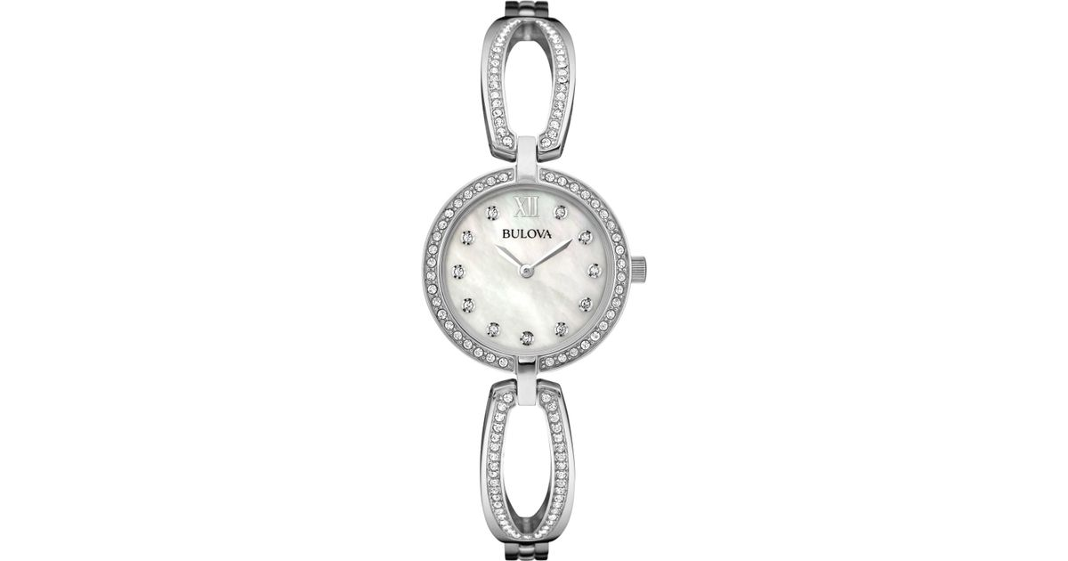 Bulova Women S Crystal Accent Stainless Steel Bangle