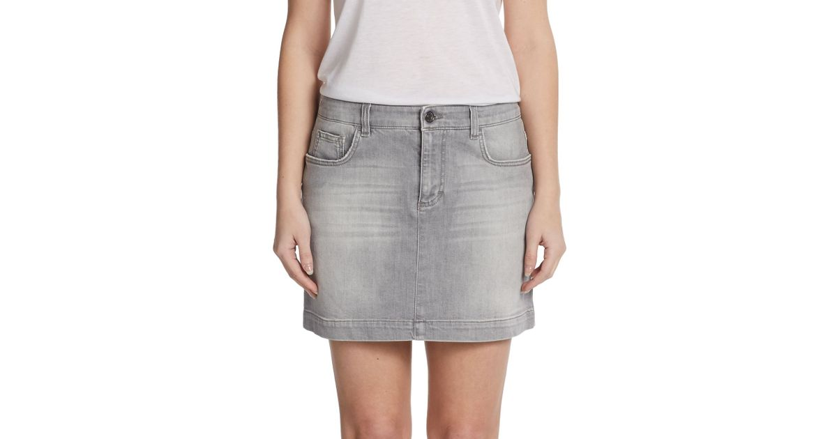 Dolce & gabbana Gray Denim Mini Skirt in Gray | Lyst