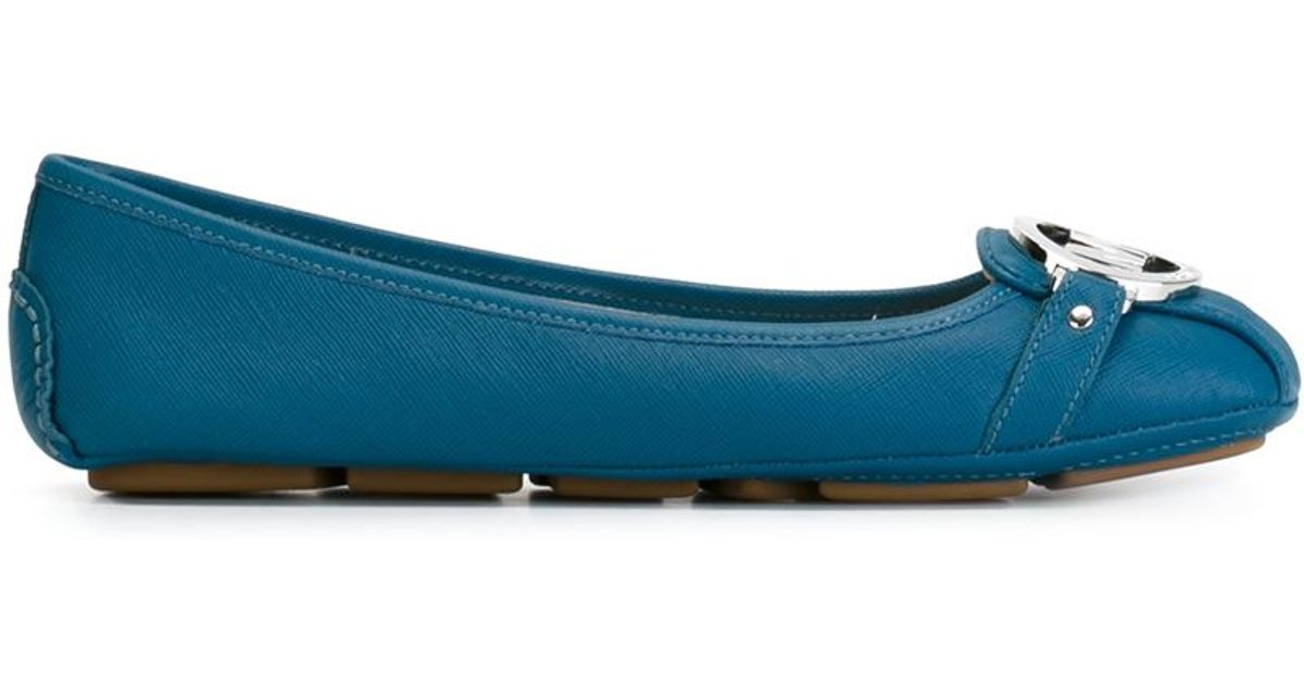 michael michael kors fulton leather ballet flats in blue save 20 lyst. Black Bedroom Furniture Sets. Home Design Ideas