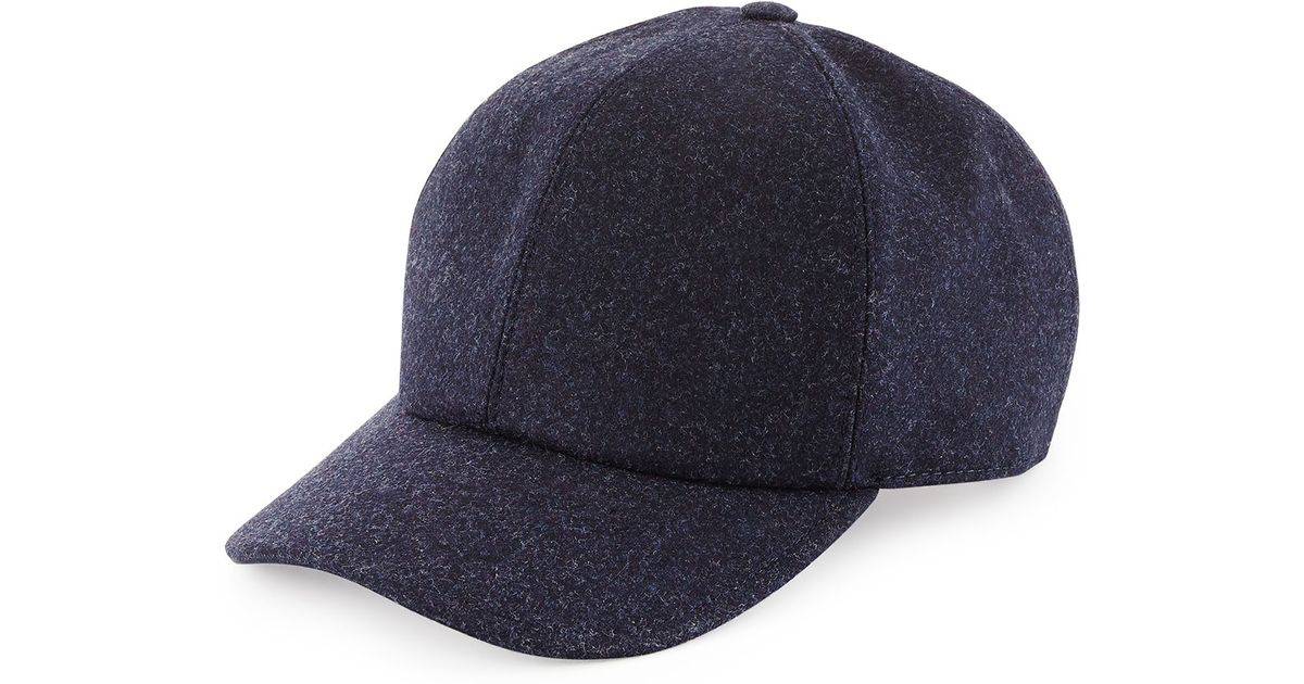 238fb663e7394 Brunello Cucinelli Wool Baseball Hat in Blue for Men - Lyst