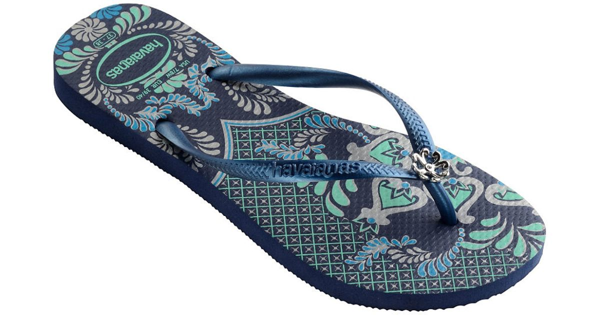 1d944822e Lyst - Havaianas Peacock Paisley Slim Thematic Flip Flops in Blue