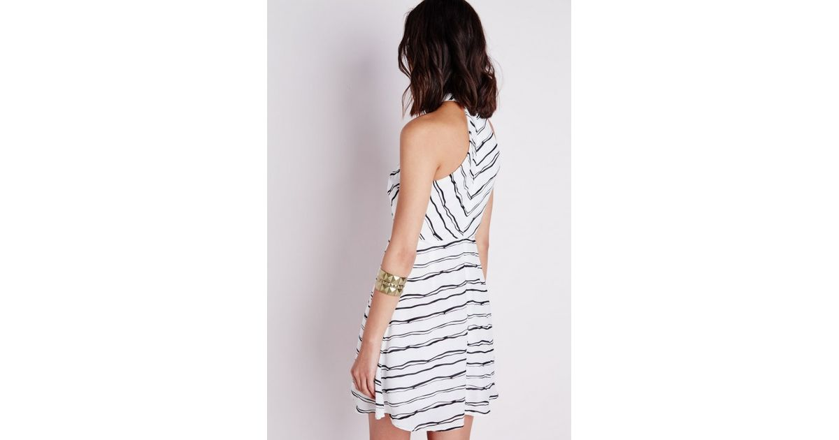 d2679f4fb6ce Lyst - Missguided Crepe High Neck Swing Dress Black white Abstract Stripe  in White