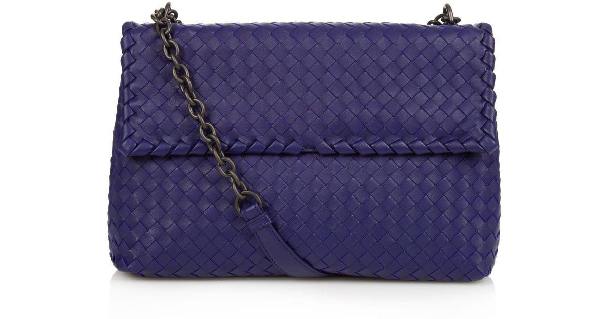 ba40b871f042 Bottega Veneta Olimpia Intrecciato Leather Shoulder Bag in Blue - Lyst