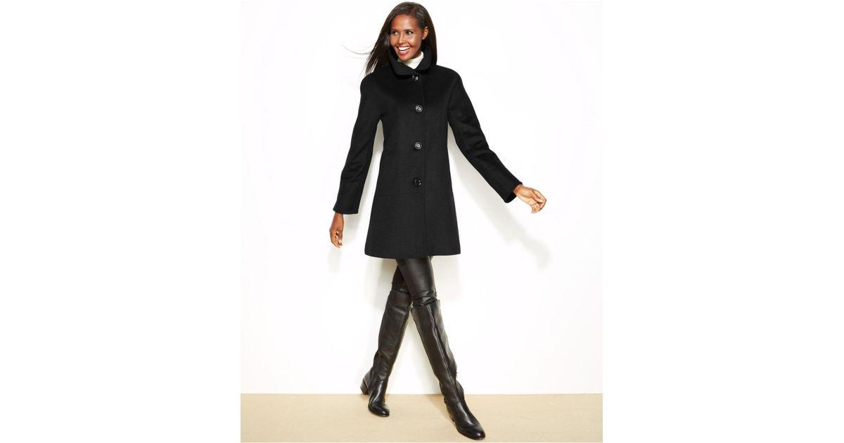 Ellen tracy Petite Wool-Blend A-Line Walker Coat in Black | Lyst