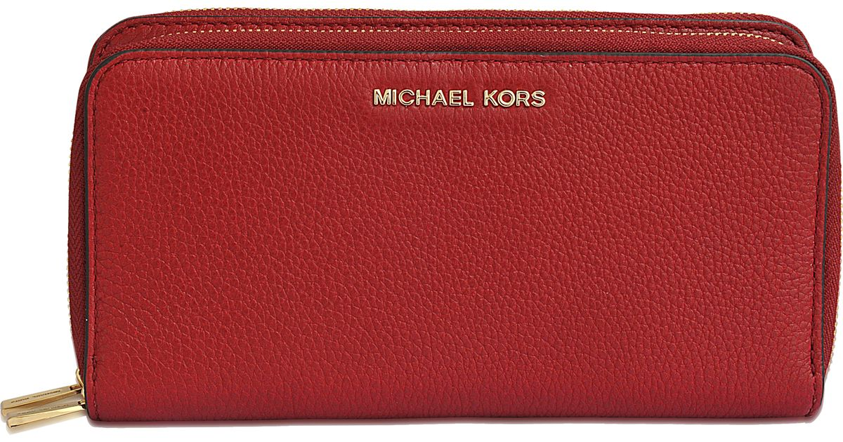 3c37d78bb648 Lyst - MICHAEL Michael Kors Adele Double Zip Wallet in Red