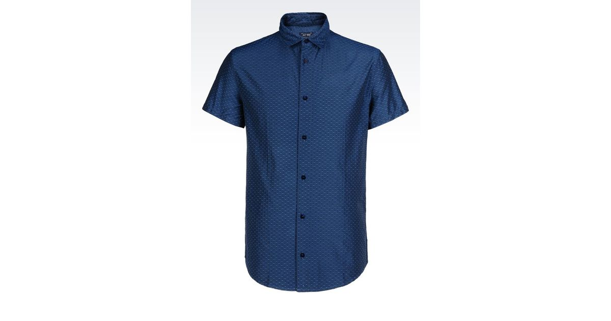 Armani Jeans Slim Fit Cotton Shirt In Blue For Men Lyst