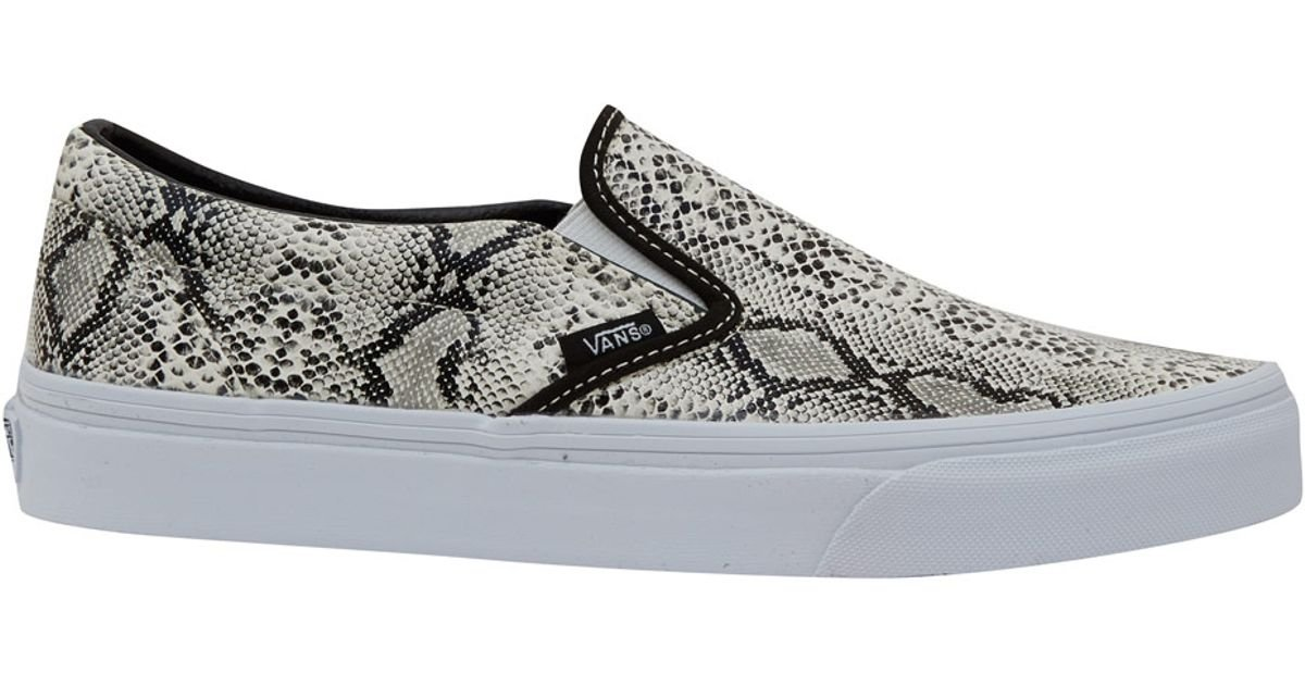 aa653c0602 Lyst - Vans Silver Snake Embossed Leather Slip On Skate Shoes in Metallic