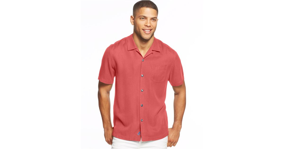 Tommy Bahama Big And Tall Hamilton Stitched Silk Shirt In