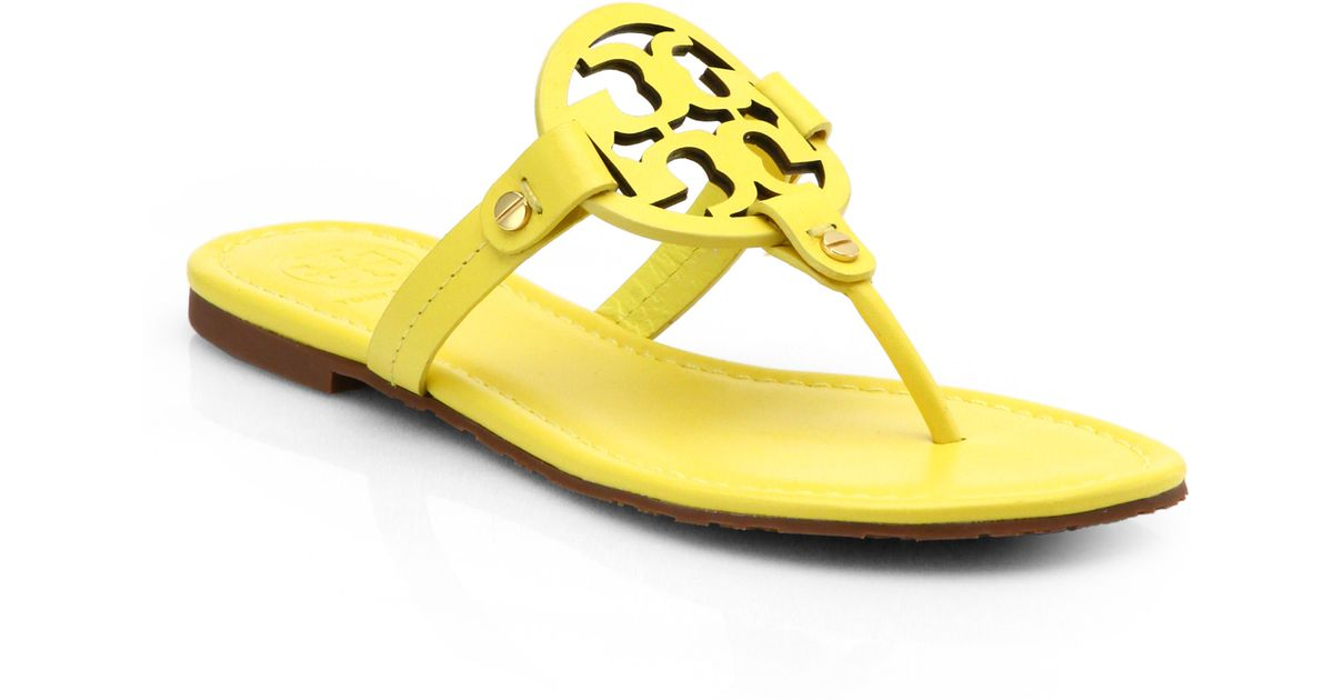 0033d3e47 Lyst - Tory Burch Miller Patent Leather Logo Thong Sandals in Yellow
