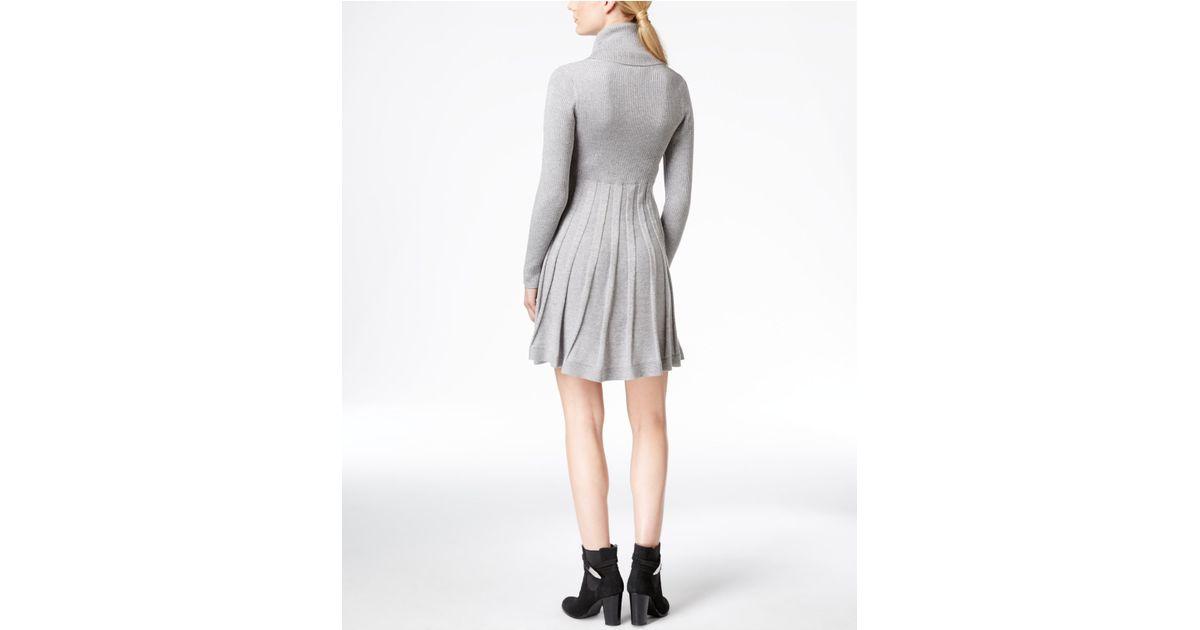 7cd6da16c7a Calvin Klein Cowl-neck Fit   Flare Sweater Dress in Gray - Lyst
