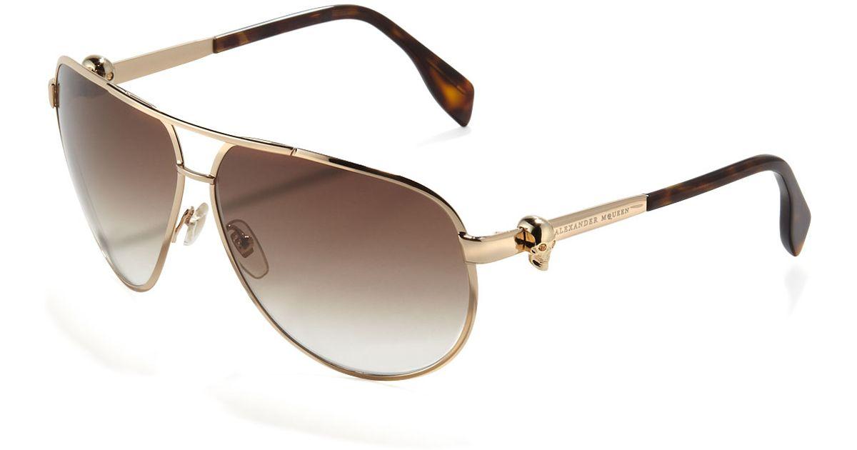 c8dcf9643c Lyst - Alexander McQueen Skull-Temple Aviator Sunglasses in Brown for Men