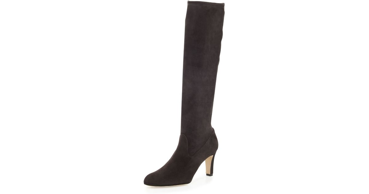 9d97e97d886 Lyst - Manolo Blahnik Pascaputre Stretch-suede Tall Boot in Black