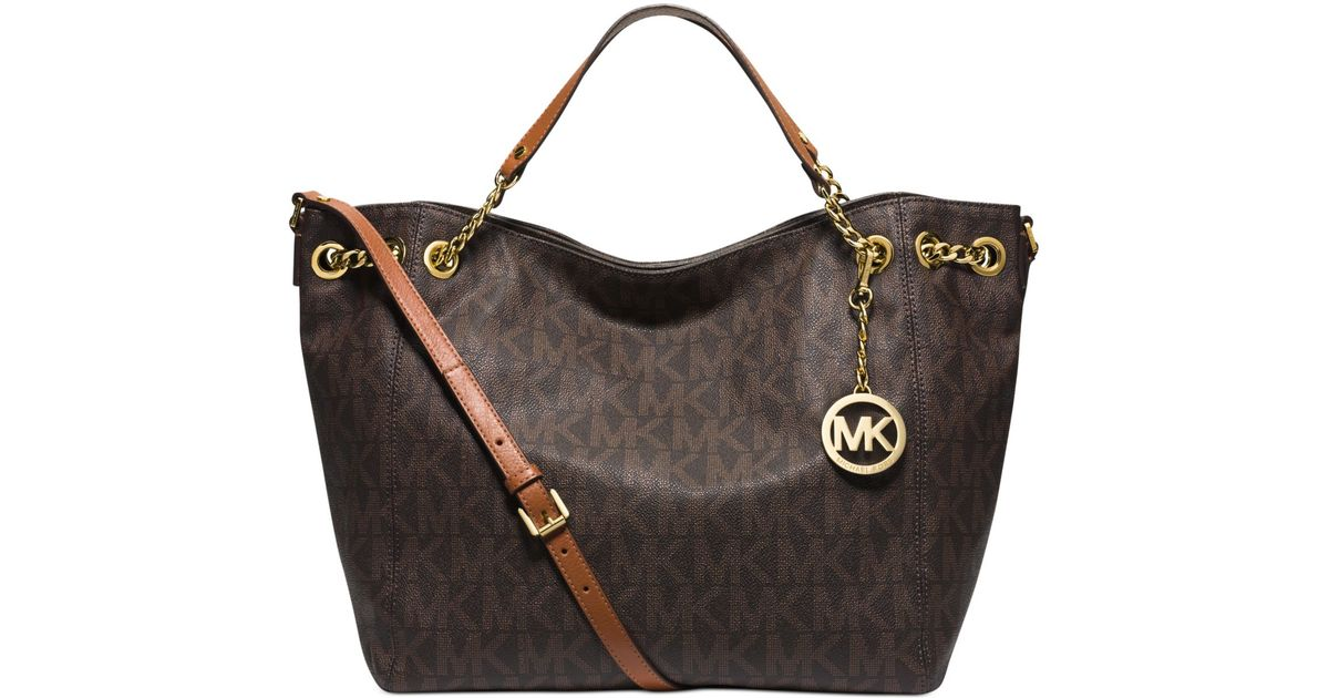 9489590f568a Michael Kors Michael Jet Set Chain Item Large Gather Shoulder Tote in Brown  - Lyst