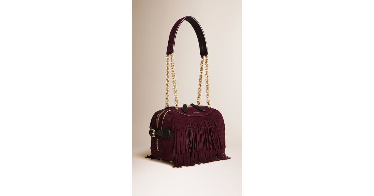 6f8a2b54bb20 Burberry The Small Alchester In Suede Fringe in Brown - Lyst
