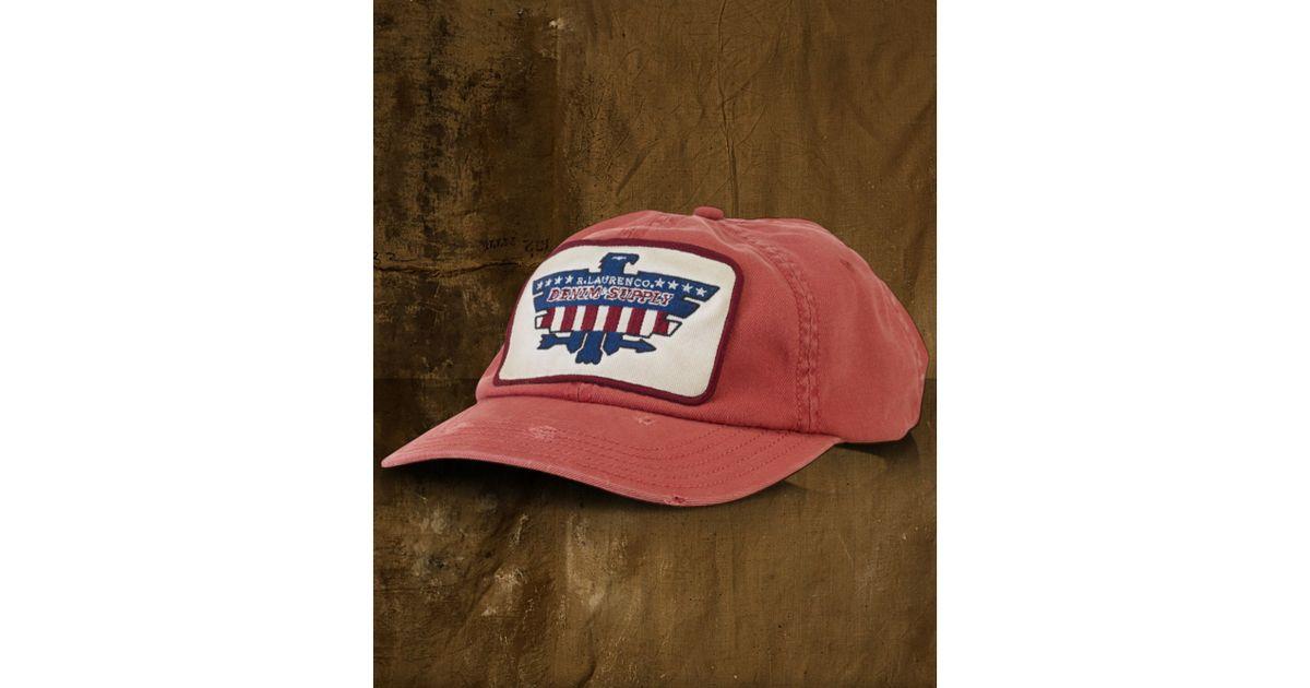 c1e891f4780 Lyst - Denim   Supply Ralph Lauren Twill Eaglepatch Baseball Cap in Red for  Men
