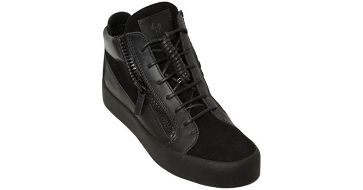 Sneakers KRISS Mid Top leather suede black Giuseppe Zanotti 7yB8b