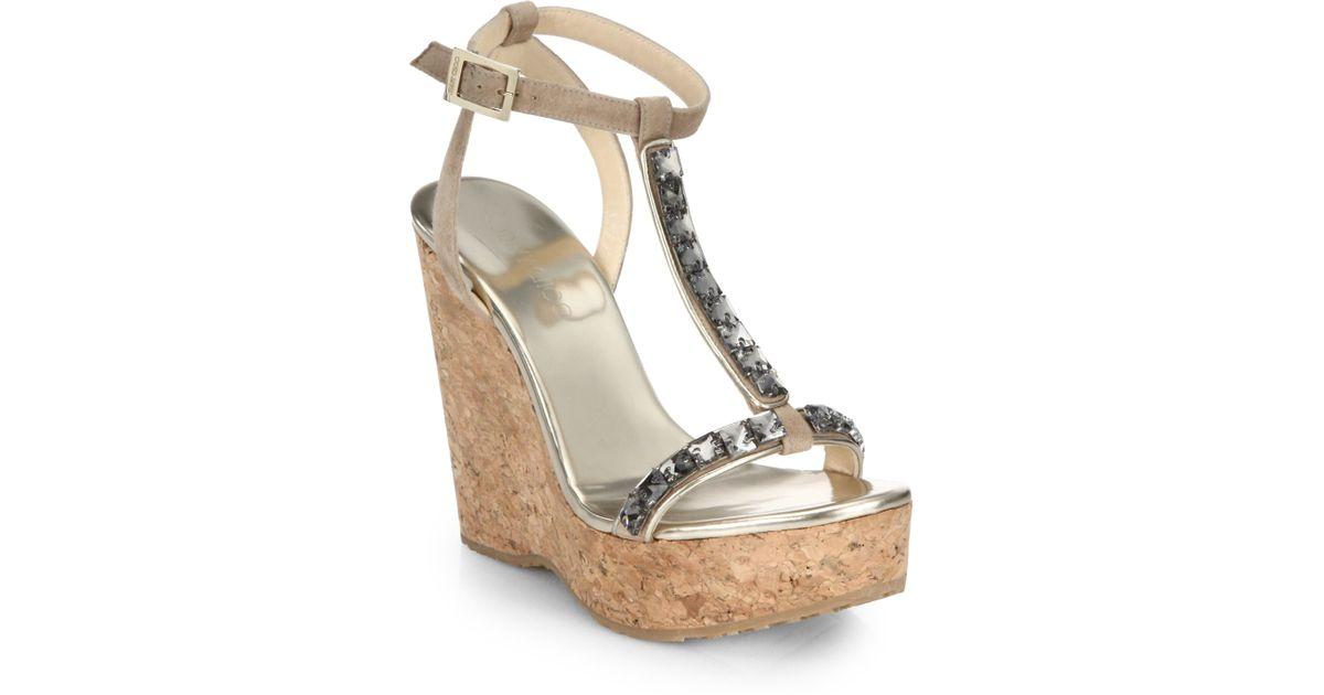 jimmy choo naima jeweled cork platform wedge sandals in