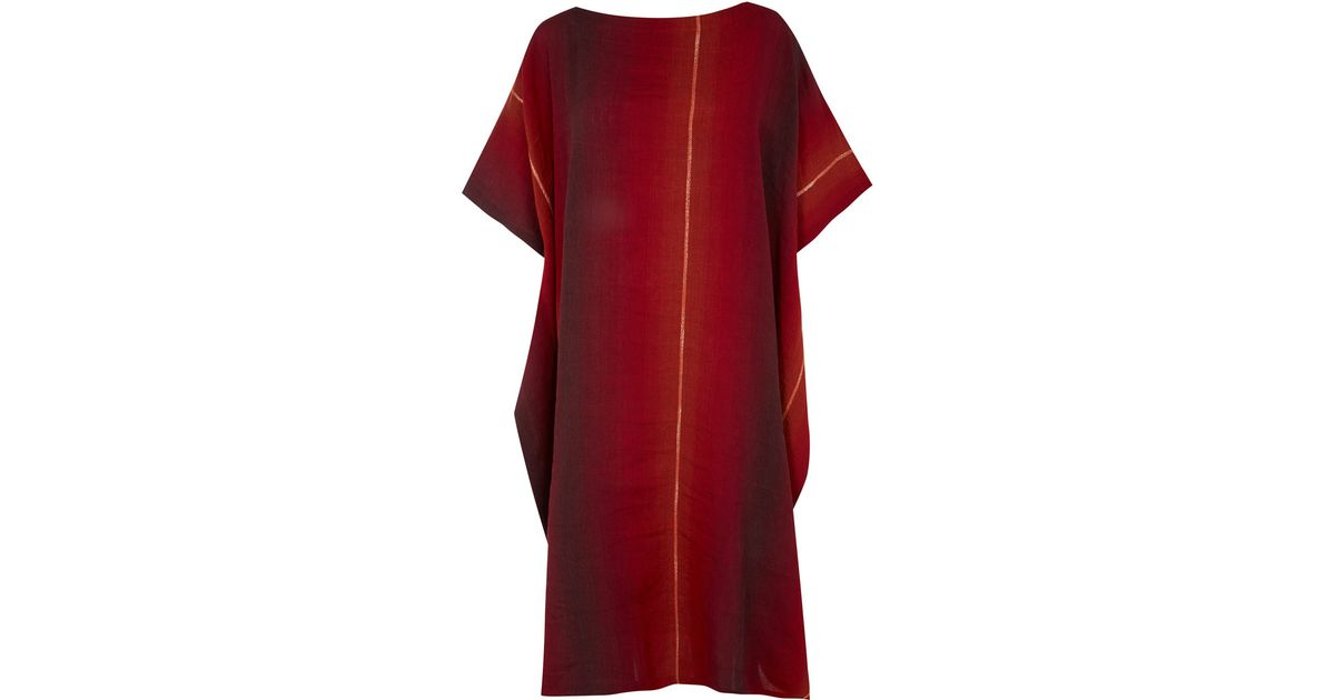 Eskandar Red Stripe Linen Cotton-Blend Kaftan Dress in Red  Lyst