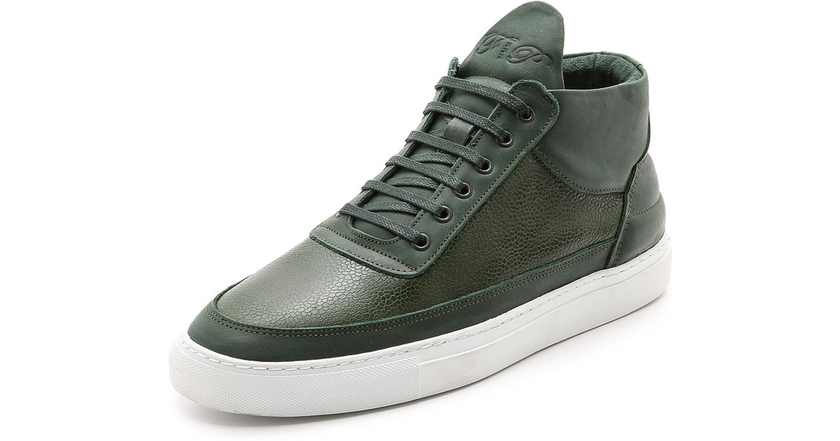 0f4891d53fde Lyst - Filling Pieces Scotch Grain Mid Top Sneakers in Green for Men