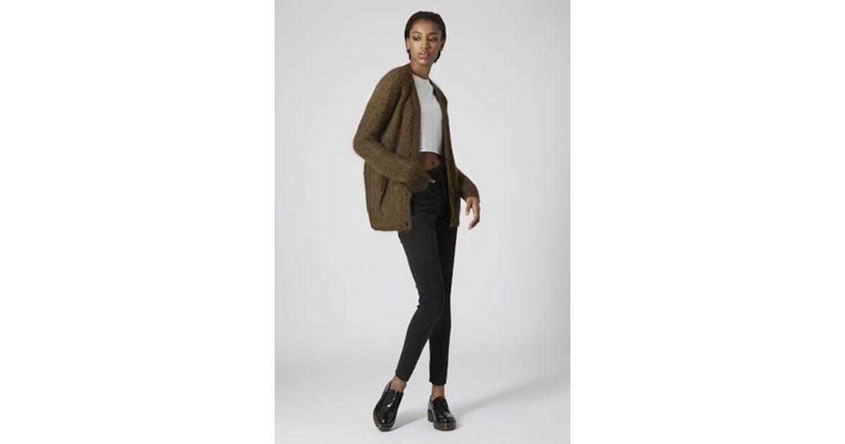 Topshop Luxe Cocoon Cardigan in Brown | Lyst
