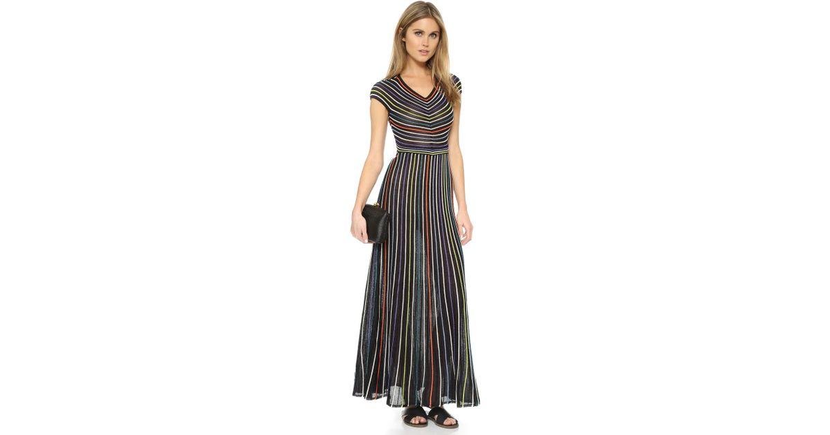 68506763a20e Lyst - M Missoni Micro Stripe Maxi Dress in Black
