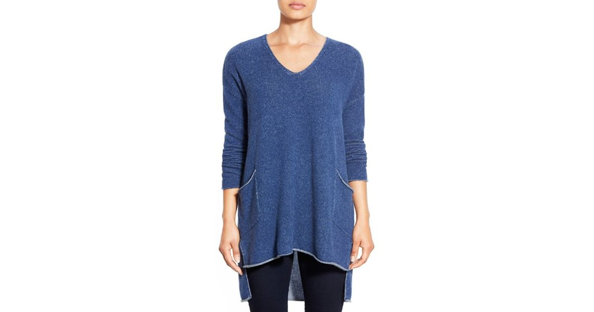 a5c26e968c7 Eileen Fisher Cashmere V-neck High/low Tunic in Blue - Lyst