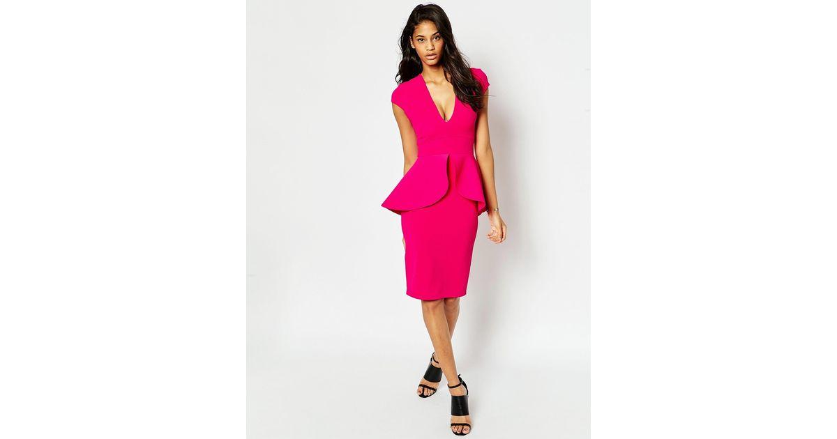 b3e6b7528f Lyst - ASOS Textured Deep Plunge Peplum Midi Dress in Pink