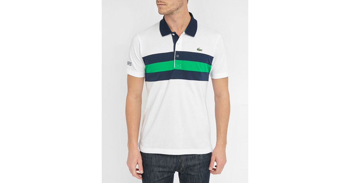 Lacoste White Sport Pique Knit Polo Shirt With Green And