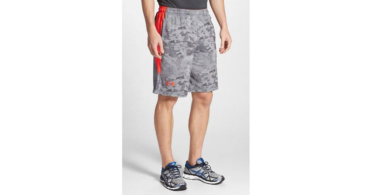 NEW Under Armour Mens Shorts XXL 2XL Raid Black Gray Fitted Heat Gear Loose Fit